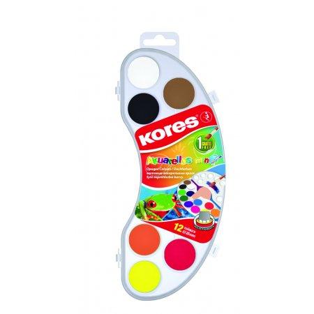Vodové barvy Kores Akuarellas MINI 12 barev 25mm + štětec