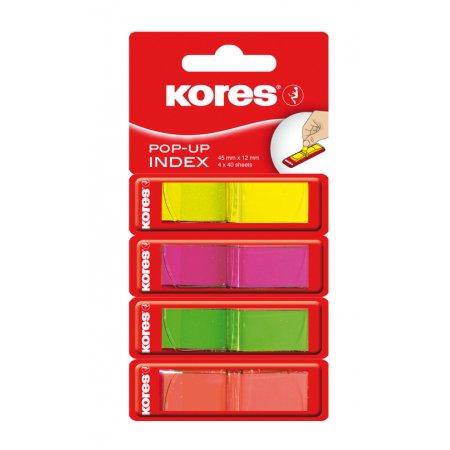 Neonové záložky Kores Pop-up 45x12mm/4 barvy/160 záložek-40 lístků á barva