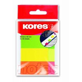 Papírové záložky Kores neon 20x50mm 4x50ls 4 barvy