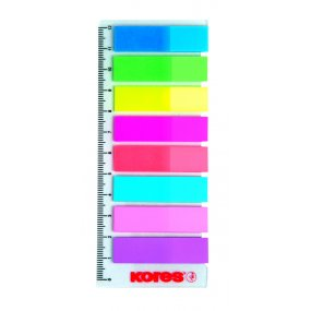 Neonové záložky Index Strips na pravítku 45x12 mm / 8 barev / 25 lístků á barva, polybag
