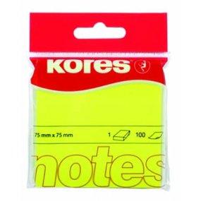 Neonové bločky 75x75/80ls Kores žluté