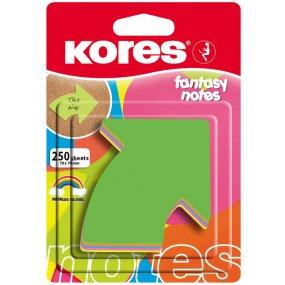 """Neonové bločky 70x70mm """"ARROW"""" tvar šipky/250lístků v bločku,mix 5 barev"""