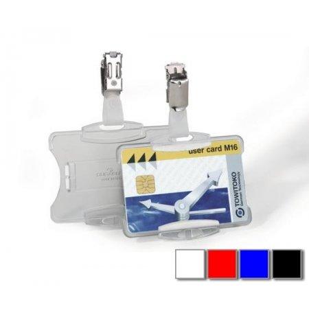 Pouzdro DURABLE na magnetické karty 85x54mm s klipem, balení 25ks, modré