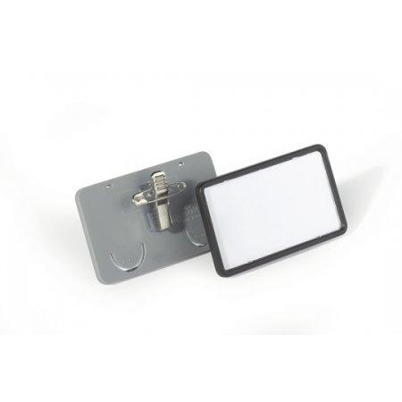 Jmenovka DURABLE Clip-Card s kombiklipem, 75x40mm, šedá, balení 25ks