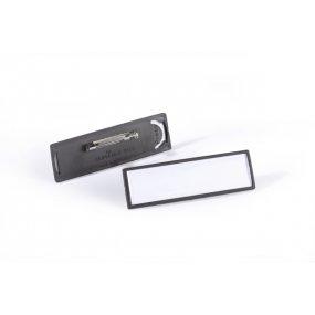 Jmenovka DURABLE Clip-Card s plochým špendlíkem, 67x17mm, černá, balení 25ks