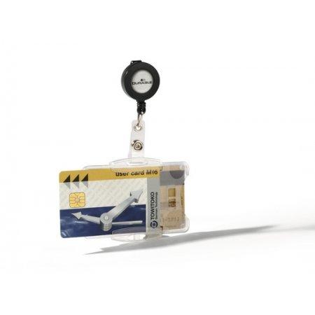 Pouzdro DURABLE dvojité na magnetické karty 85x54mm s klipem, balení 25ks, černé