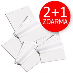 [2+1 ZDARMA] Blok pro flipchart bílý 95x68cm, 25 listů, 70g/m2