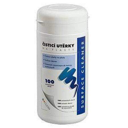Čistící navlhčené utěrky D-CLEAN na plasty, v dóze, balení 100ks