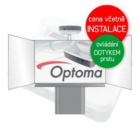 Dotyková interaktivní tabule Optoma W320USTi + Školní tabule Triptych 200x120cm na zvedacím stojanu