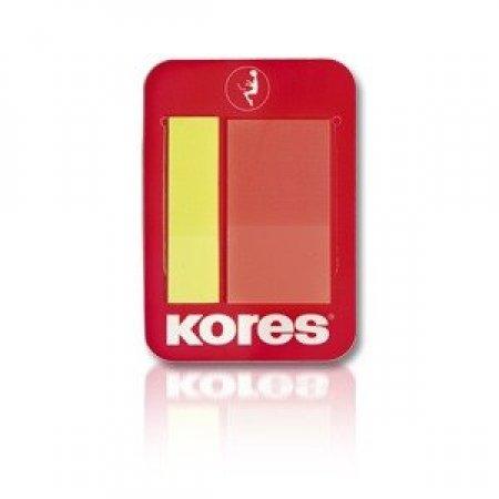 Plastové záložky Kores na klipu, 2 barvy - žlutá 45x12 mm, oranž. 45x25mm/ 2x25 záložek, polybag