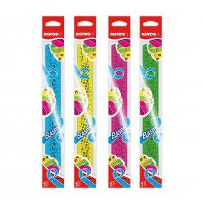 Ohebné pravítko ELASTIK 30 cm, mix 4 barev (modré, růžové, zelené, žluté)