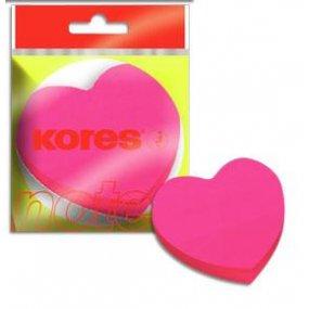 """Neonové bločky 70x70mm """"HEART"""" tvar srdce - růžové /100 papírků v bločku"""
