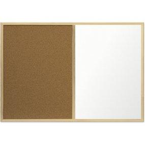Kombinovaná tabule EcoTECH korek/bílá, 90x60cm, dřevěný rám