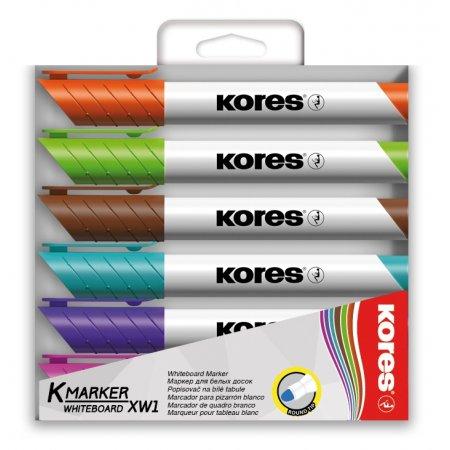 Sada popisovačů KORES na bílé tabule a flipcharty, 6 barev, pastelové barvy