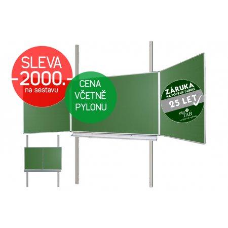 Školní tabule EkoTAB Triptych ZZZZZ + pylon jednoduchý AL - Montáž zdarma !!!