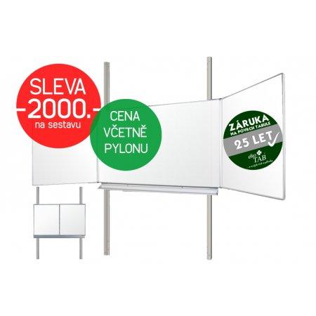 Školní tabule EkoTAB Triptych BBBBB + pylon jednoduchý AL