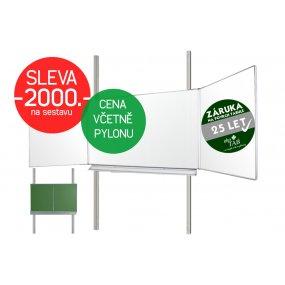 Školní tabule EkoTAB Triptych ZBBBZ + pylon jednoduchý AL - Montáž zdarma !!!