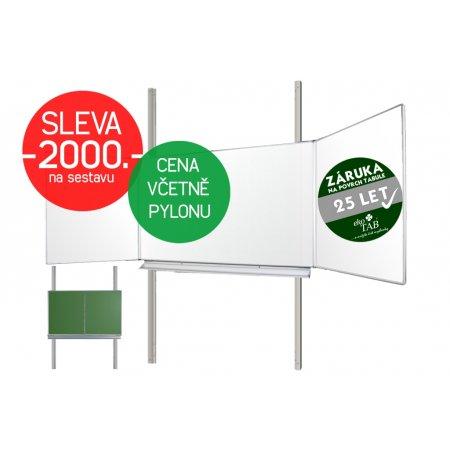 Školní tabule EkoTAB Triptych ZBBBZ + pylon jednoduchý AL