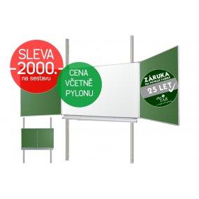 Školní tabule EkoTAB Triptych ZZBZZ + pylon jednoduchý AL