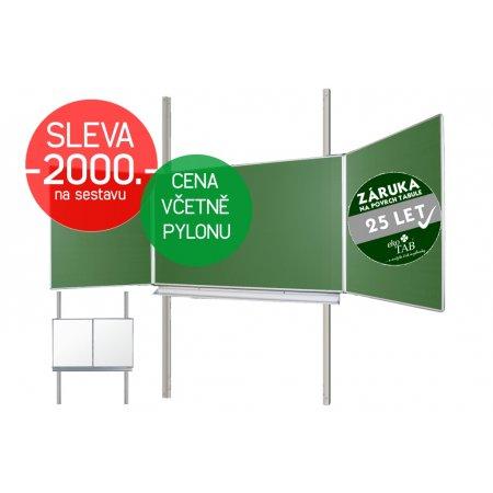 Školní tabule EkoTAB Triptych BZZZB + pylon jednoduchý AL