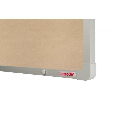 Textilní tabule boardOK béžová stříbrný rám